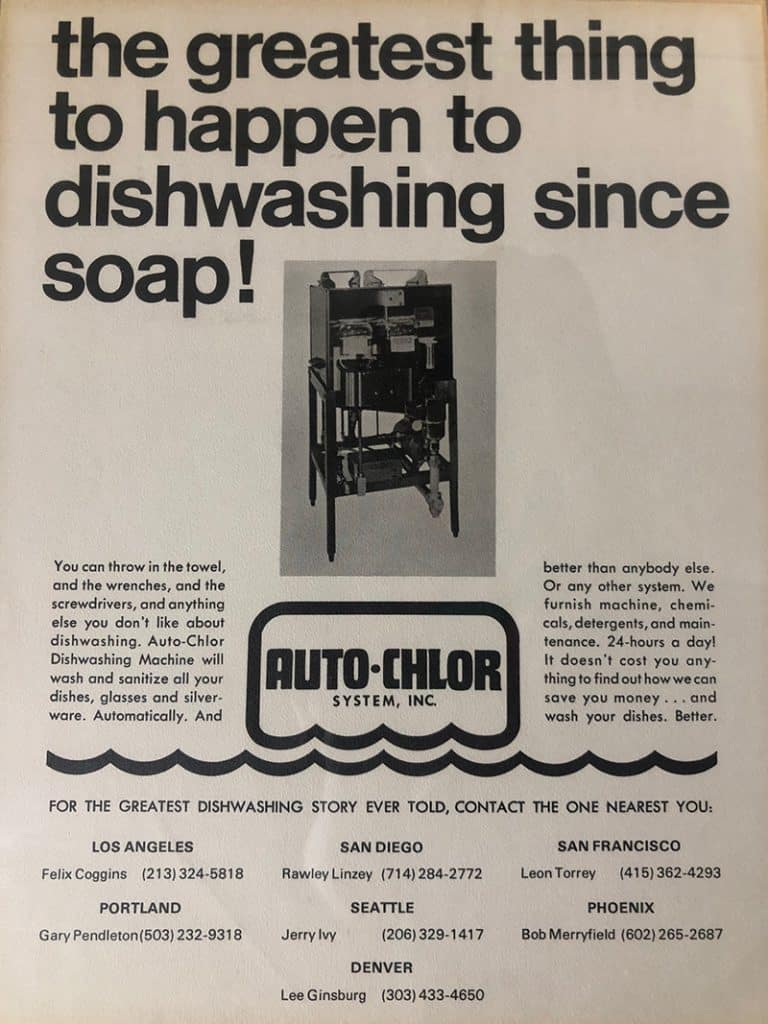 auto-chlor history, dishmachines, dishwashers