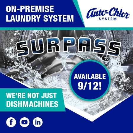 surpass, laundry, auto-chlor, on premise laundry